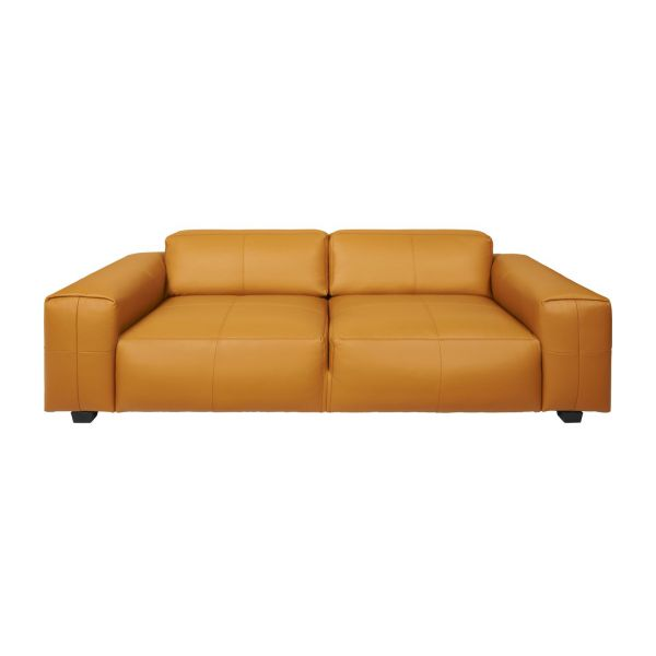 Attrayant 2 Seater Sofa In Savoy Semi Aniline Leather, Cognac N°2
