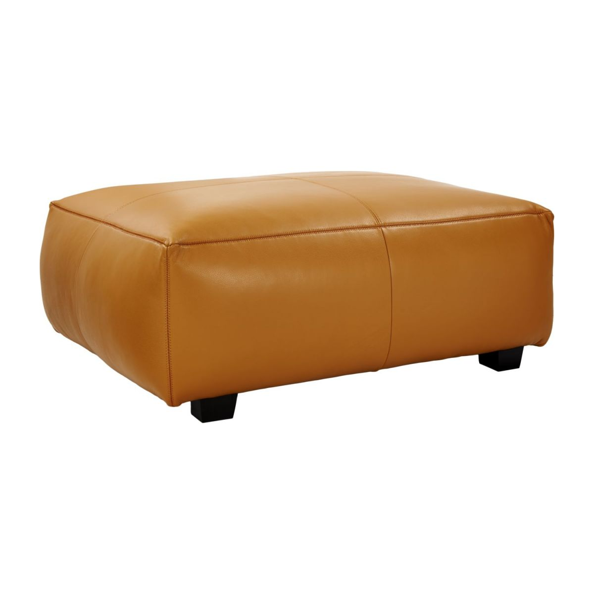 Footstool in Savoy semi-aniline leather, cognac n°1