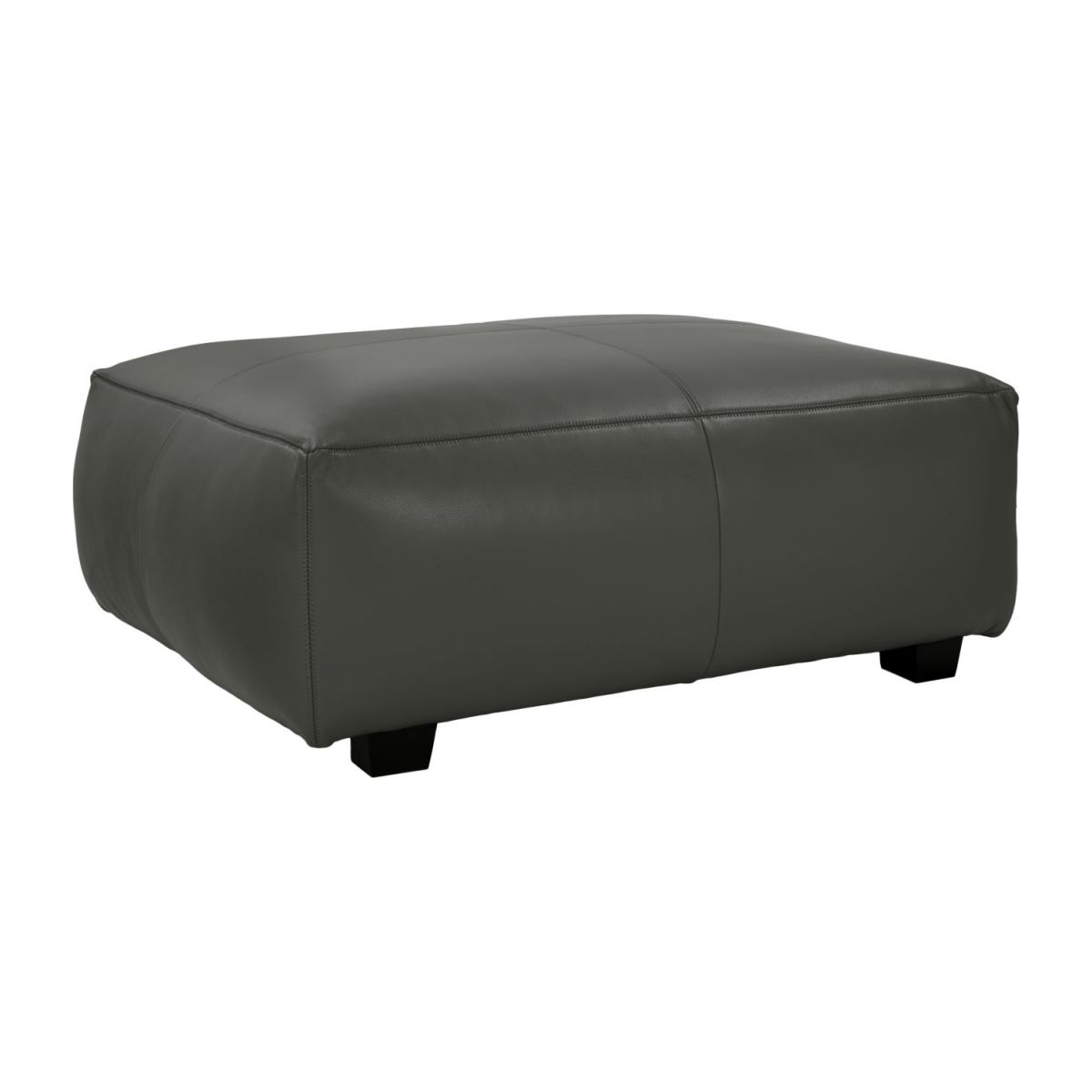 Footstool in Savoy semi-aniline leather, grey  n°1