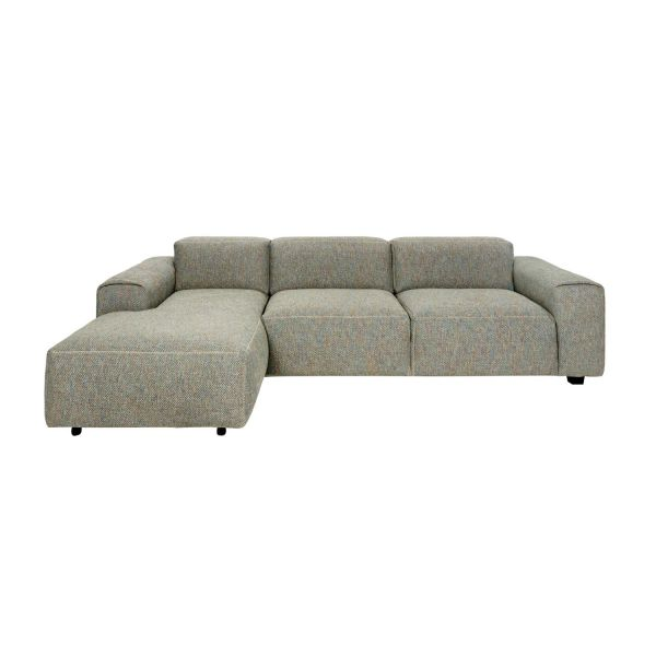 3-Sitzer Sofa mit Chaiselongue links aus Stoff Bellagio organic green n°3