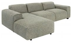 3-Sitzer Sofa mit Chaiselongue links aus Stoff Bellagio organic green