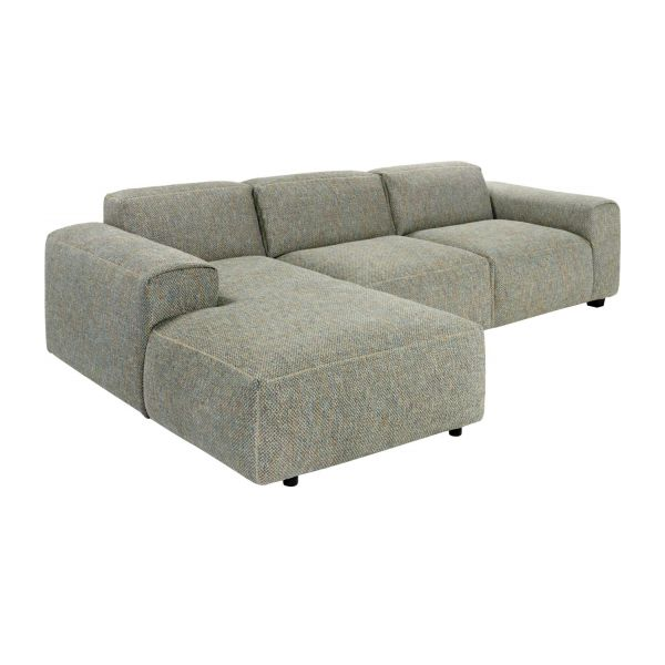 3-Sitzer Sofa mit Chaiselongue links aus Stoff Bellagio organic green n°1