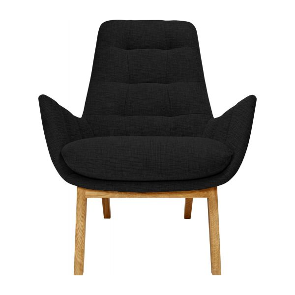Armchair In Ancio Fabric, Nero With Oak Legs N°2
