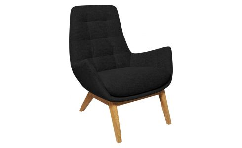 Armchair in Ancio fabric, nero with oak legs
