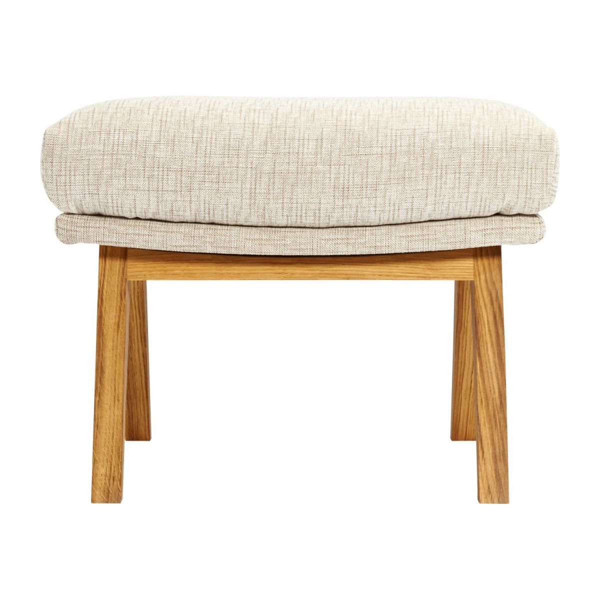 Footstool in Ancio fabric, nature with oak legs n°3