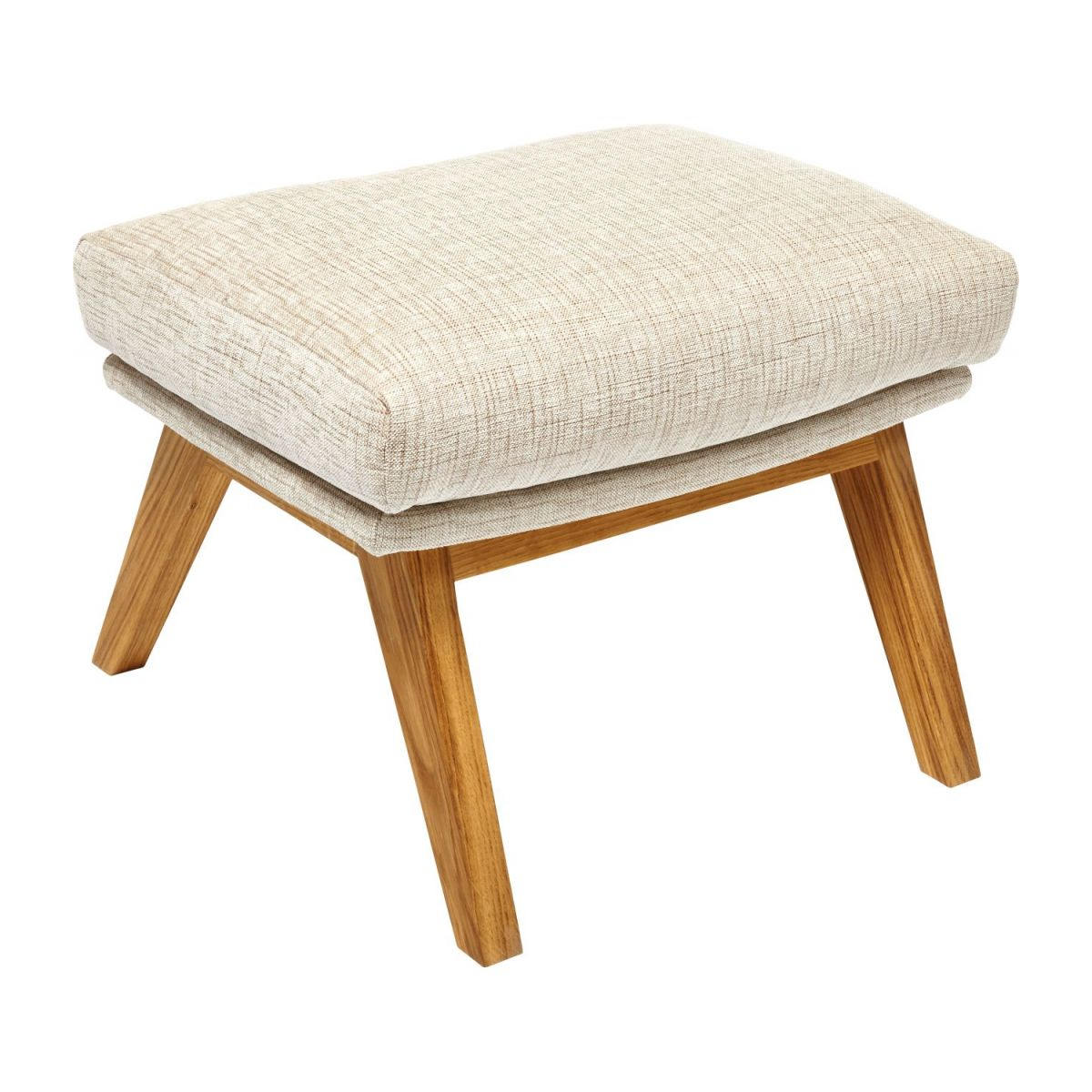 Footstool in Ancio fabric, nature with oak legs n°1