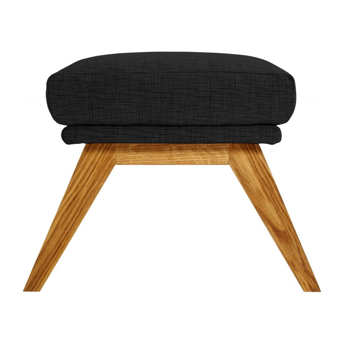 Footstool in Ancio fabric, nero with oak legs n°4