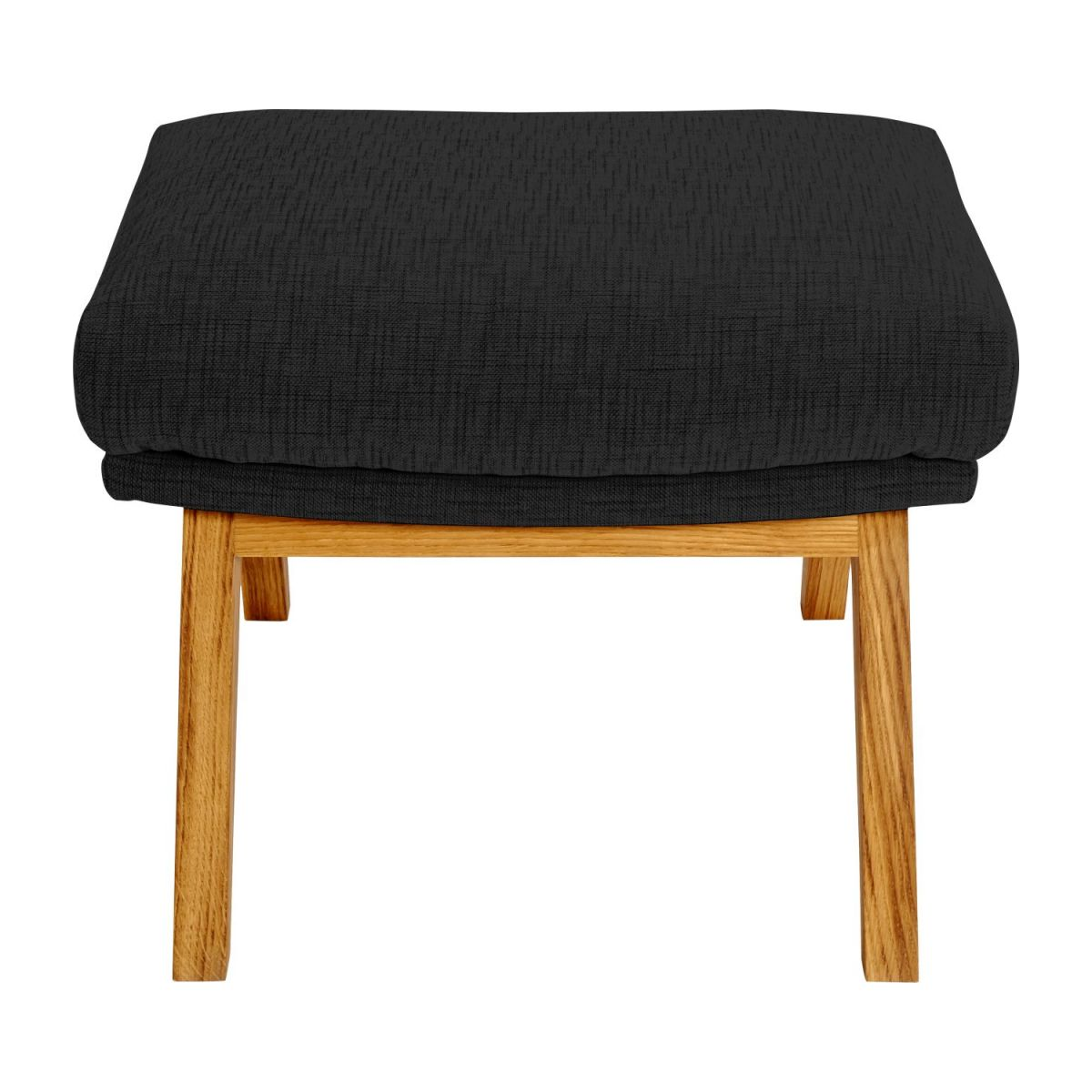 Footstool in Ancio fabric, nero with oak legs n°2