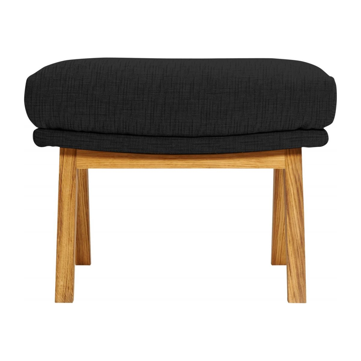 Footstool in Ancio fabric, nero with oak legs n°3