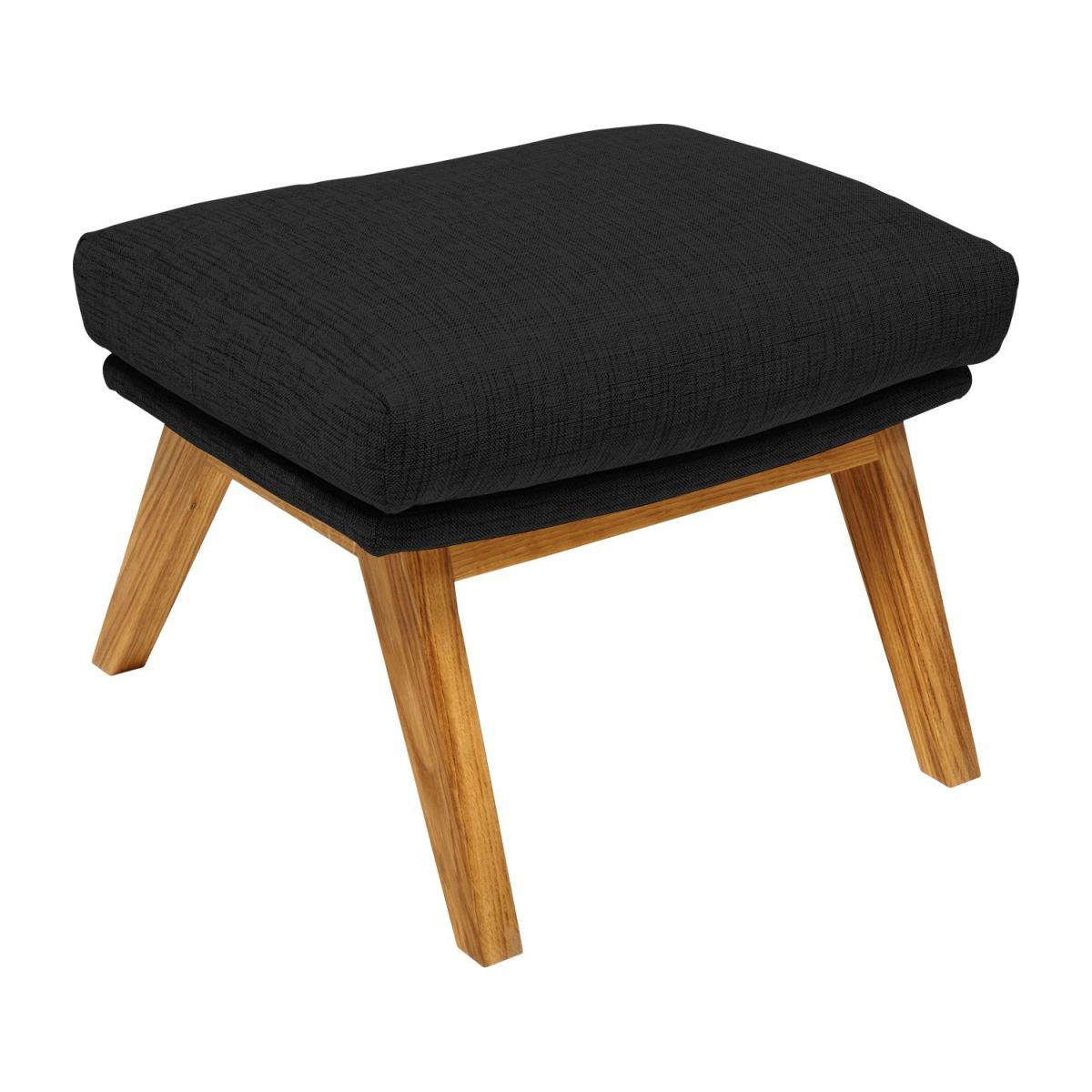 Footstool in Ancio fabric, nero with oak legs n°1