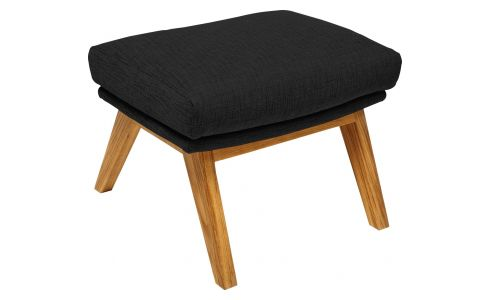 Footstool in Ancio fabric, nero with oak legs