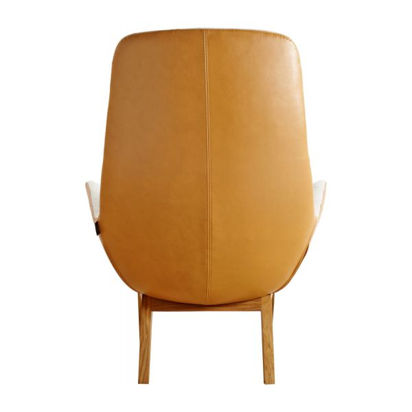 Armchair made of fabric, beige marl and brown leather oak legs n°4