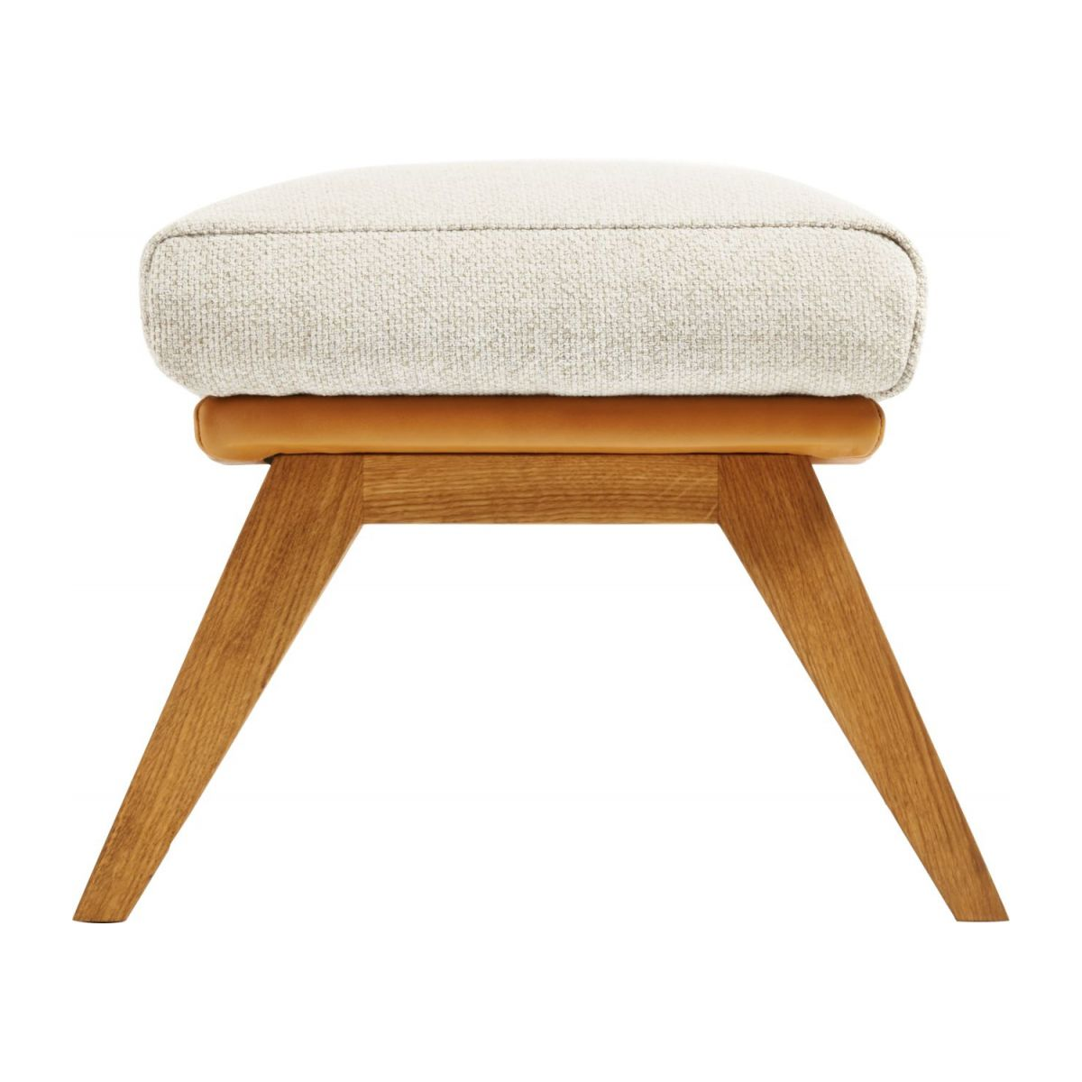 Footstool in Ancio fabric, nature et cuir marron with oak legs n°2