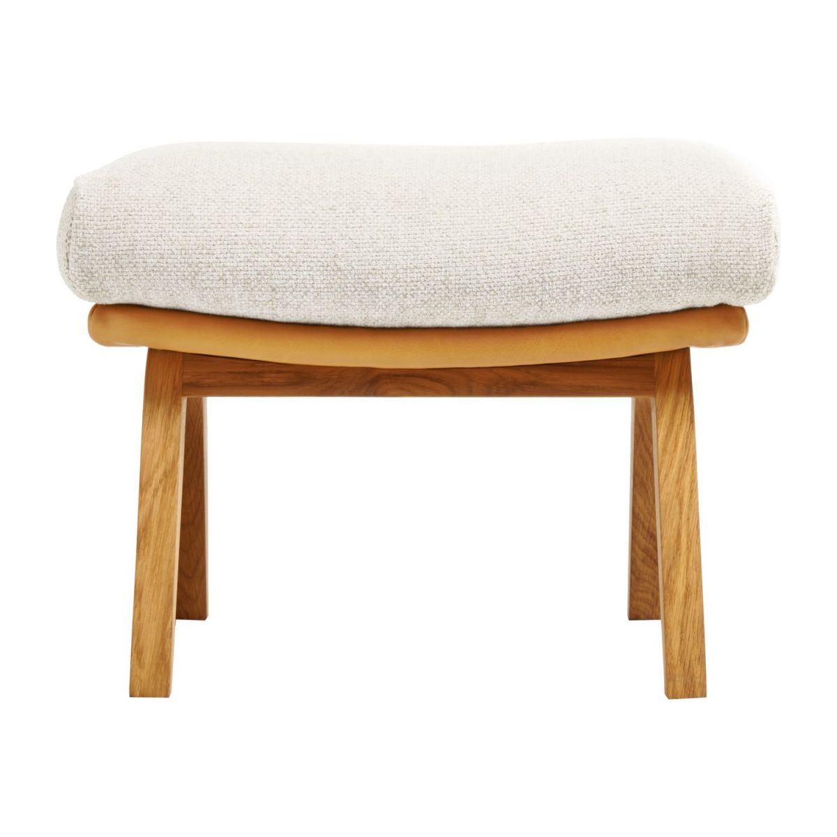 Footstool in Ancio fabric, nature et cuir marron with oak legs n°1