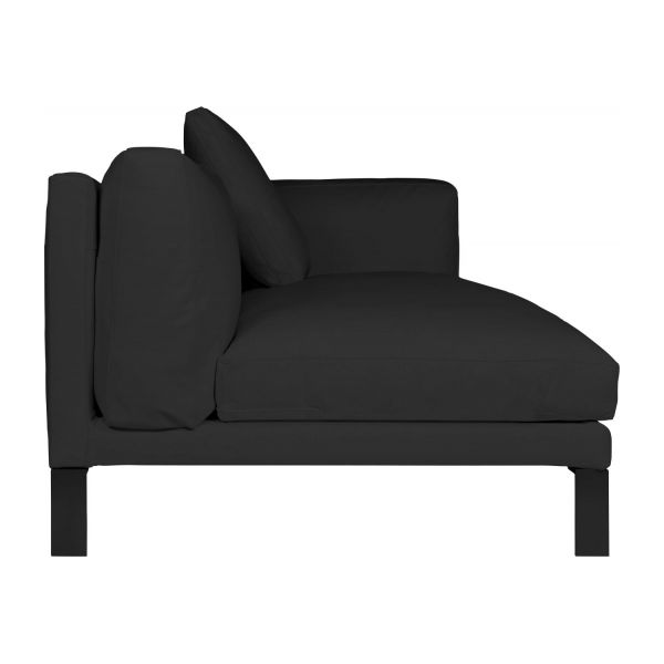 newman canap 3 places accoudoir droit en cuir noir habitat. Black Bedroom Furniture Sets. Home Design Ideas