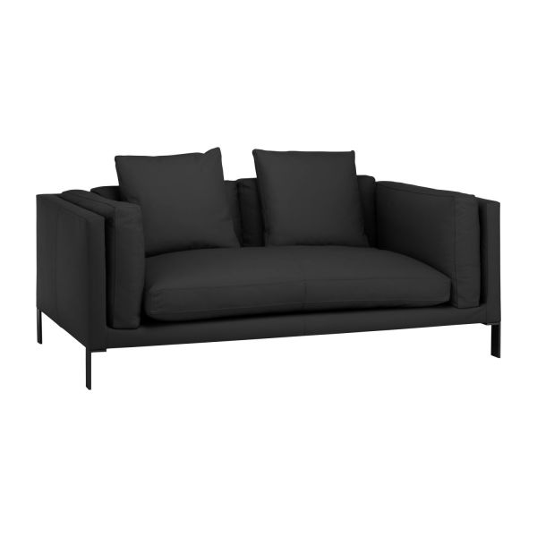 newman 2 sitzer sofa aus leder schwarz habitat. Black Bedroom Furniture Sets. Home Design Ideas