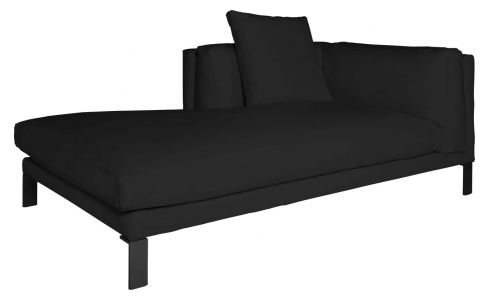 Chaiselongue, links, aus Leder, schwarz