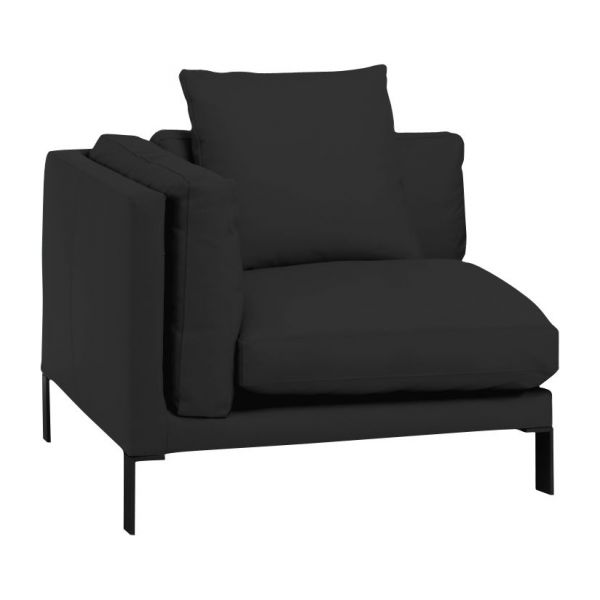 newman chauffeuse d 39 angle en cuir noire habitat. Black Bedroom Furniture Sets. Home Design Ideas
