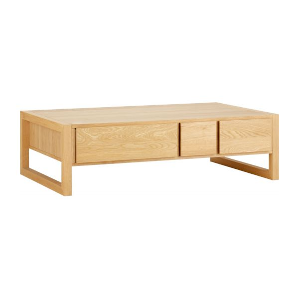 Hana ii table basse tiroirs en ch ne massif habitat - Table basse en chene ...