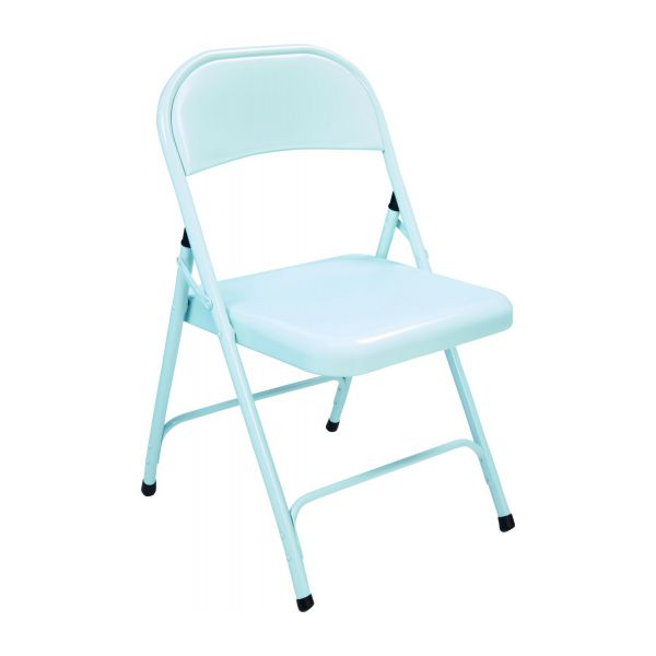 Lacquered Steel Folding Chair, Blue N°1