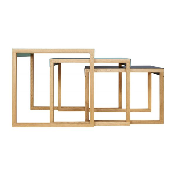 Stackable accent tables in oak and steel, blue n°5
