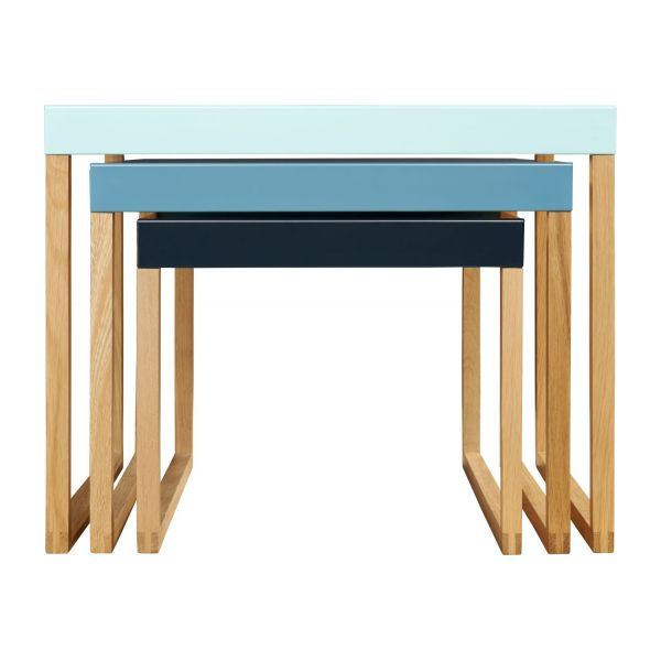 Stackable accent tables in oak and steel, blue n°4