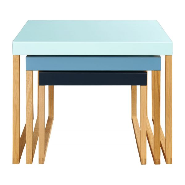 Stackable accent tables in oak and steel, blue n°3