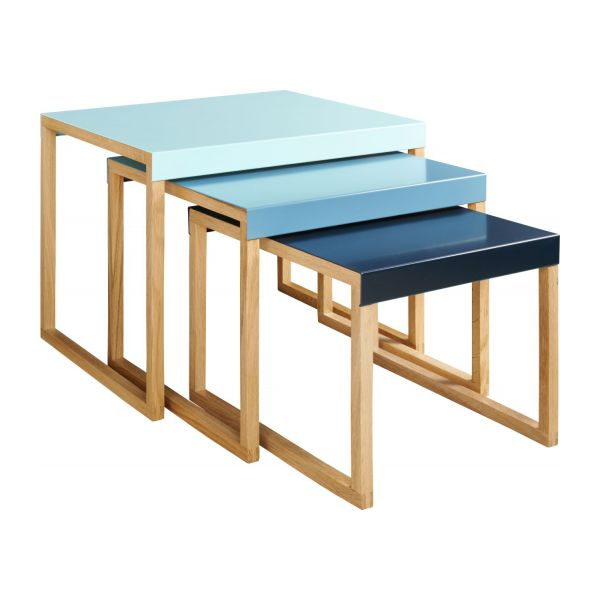 kilo tables gigognes en acier laqu bleu et pieds en ch ne habitat. Black Bedroom Furniture Sets. Home Design Ideas
