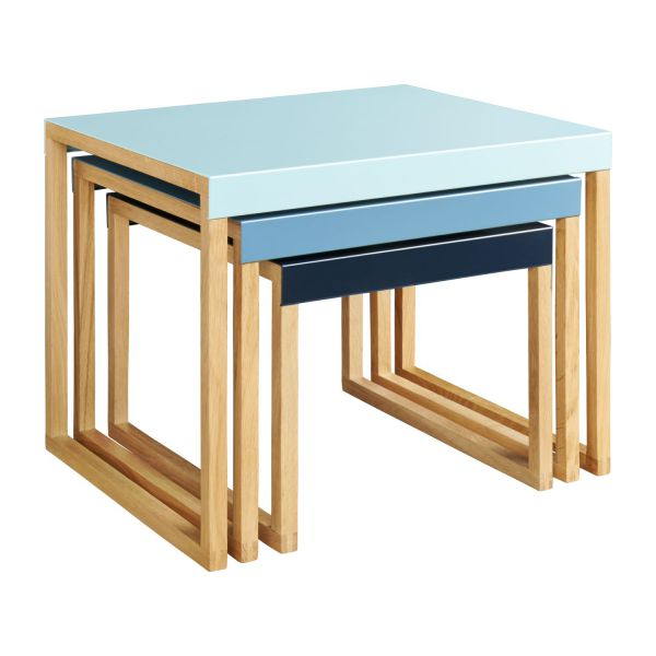 Stackable accent tables in oak and steel, blue n°1