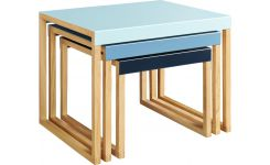 Stackable accent tables in oak and steel, blue