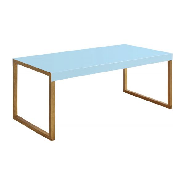kilo table basse en acier laqu bleu et pieds en ch ne habitat. Black Bedroom Furniture Sets. Home Design Ideas