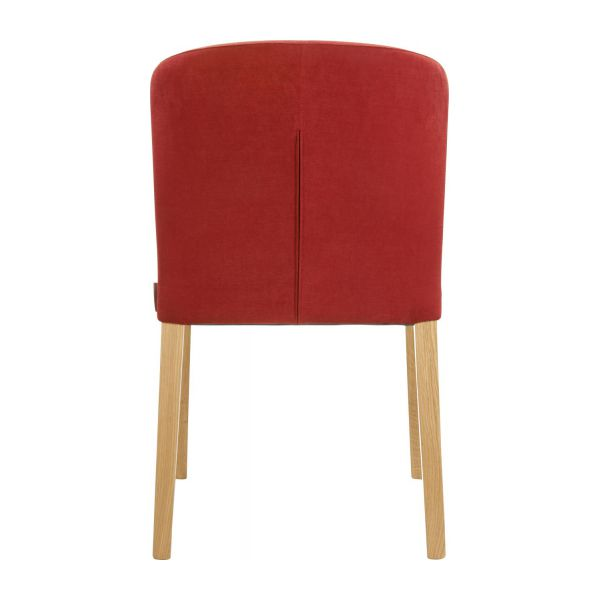 Dining room chair in fabric, red and oak n°3