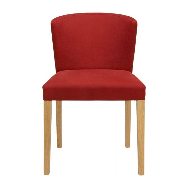 Dining room chair in fabric, red and oak n°2