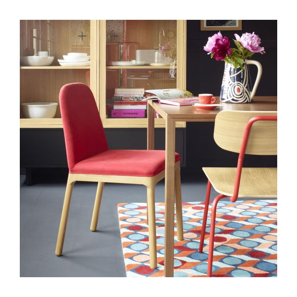 Dining room chair in fabric, red and ash n°7