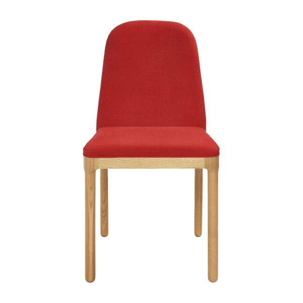 Dining room chair in fabric, red and ash n°2