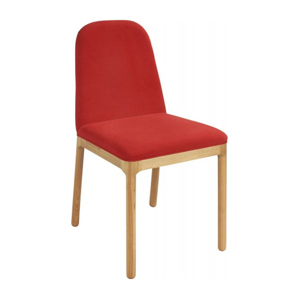 Dining room chair in fabric, red and ash n°1