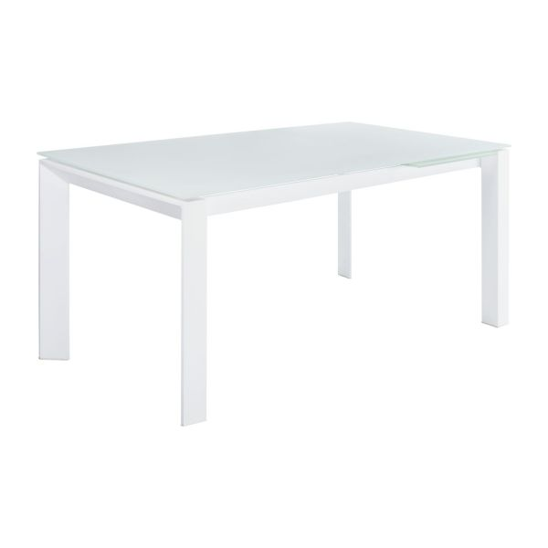 Remo table rallonges blanche en verre tremp et pieds for Table blanche a rallonge