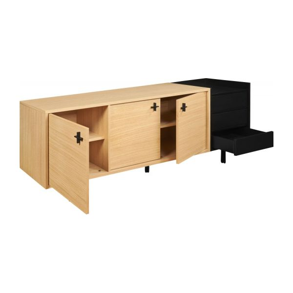 ikenna buffet bas 3 portes avec 3 tiroirs en ch ne habitat. Black Bedroom Furniture Sets. Home Design Ideas