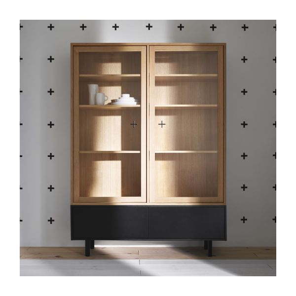 ikenna buffet haut vitrine avec 2 tiroirs en ch ne et. Black Bedroom Furniture Sets. Home Design Ideas