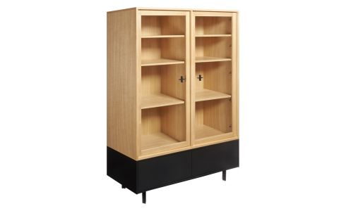 Storage furniture made of oak and glass