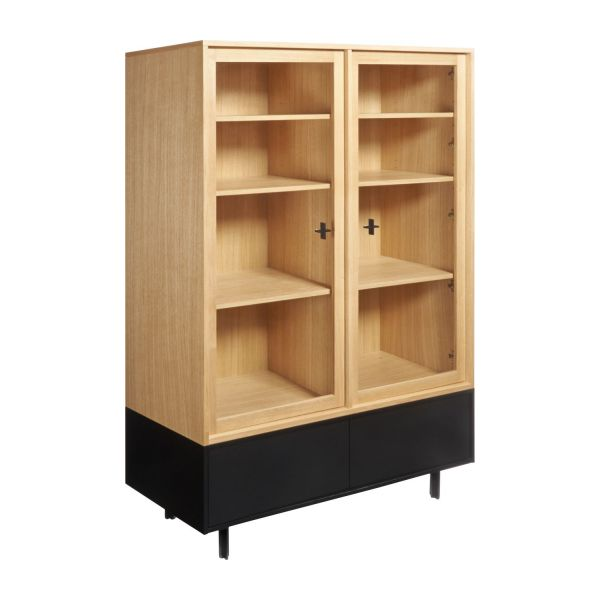 Storage furniture made of oak and glass n°1