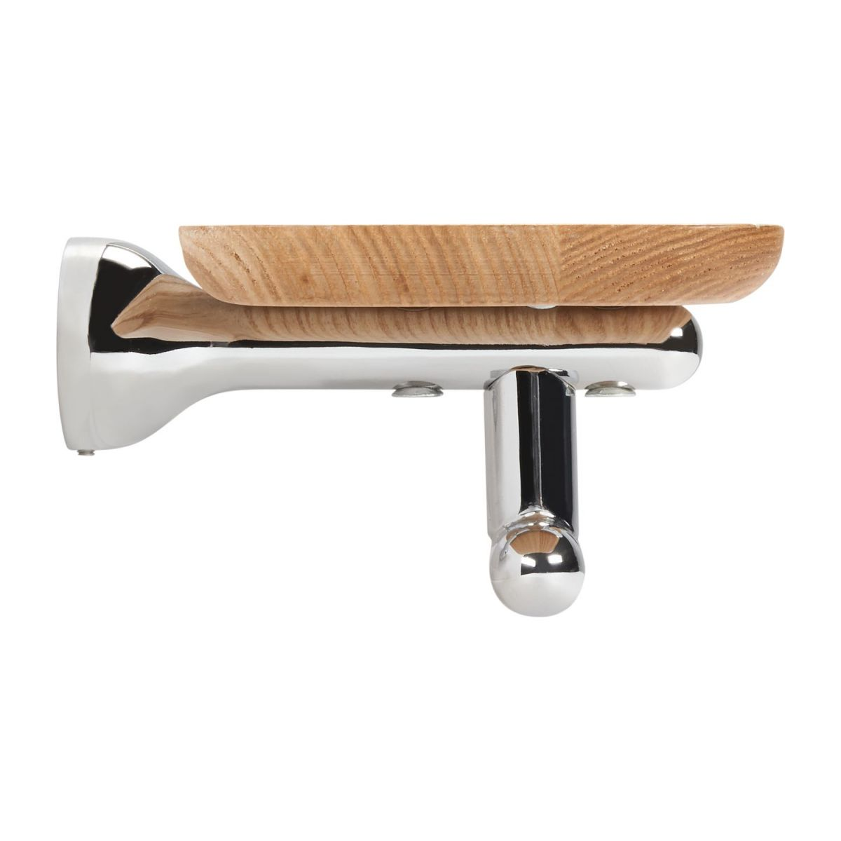 Towel holder shelf 70cm in beechwood and stainless steel n°3