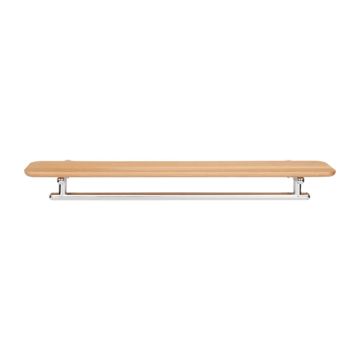 Towel holder shelf 70cm in beechwood and stainless steel n°2