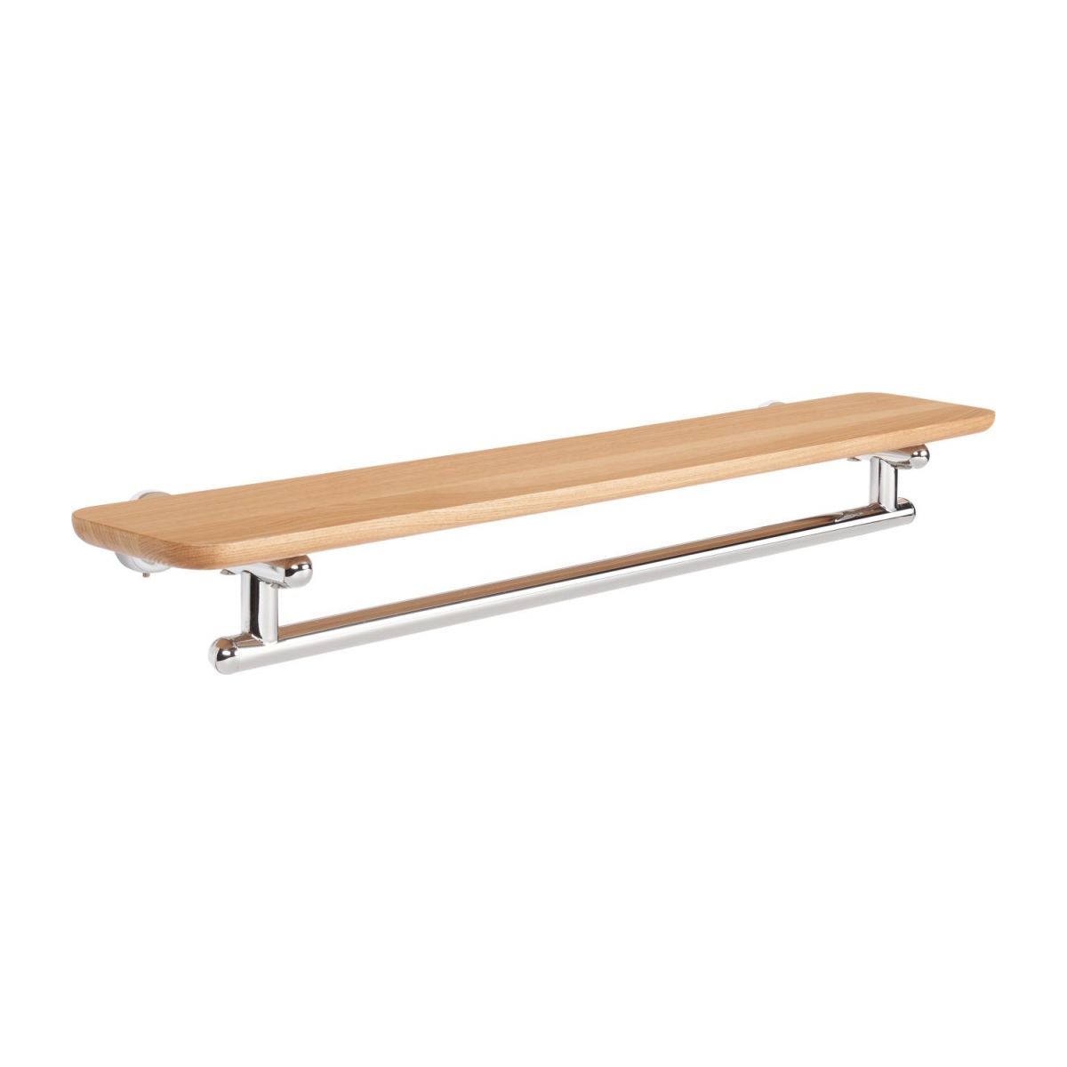 Towel holder shelf 70cm in beechwood and stainless steel n°1