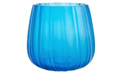Glass candle holder 10 cm, blue