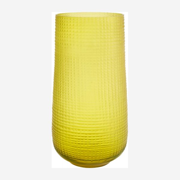 Glass vase 30 cm, yellow