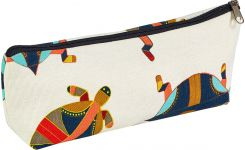 Pencil case in coton, white with patterns