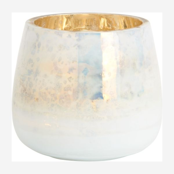 Glass candle holder 9cm, white and golden