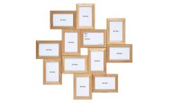 Multi photo frame made of oak