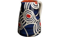 pitcher in ceramic, blue with patterns